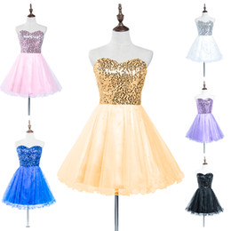 Barato Rendas De Renda Preta Vestidos Curtos-2015 Fashion Sequins Homecoming Vestidos Lace up Mini Tiered Tulle Strapless Ouro Rosa Lilás Branco Preto Azul Cheap Short Prom Gowns -D032