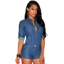 Barato Ropa Casual Sexy-New Sexy Rompers para mulheres Shorts Denim Jumpsuit Casual Single-breasted Long Sleeve V-Neck Jeans Playsuit Skinny Roupa Mulher QL1342