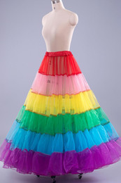 Discount pageant skirts - Colorful Dance Pageant Dresses Petticoat Cheap In Stock Wedding Accessories Underskirt For Prom Dresses Rainbow Girl