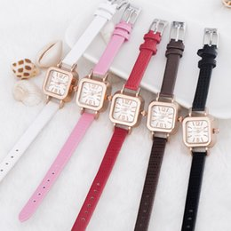 $enCountryForm.capitalKeyWord Canada - Fashion Square Ladies Simple Small Watches Crystal Leather Bracelet Band Woman Watches Luxury Gold Pollock Wrist Watches For Women Clock