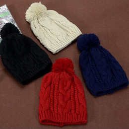 Colorful Knit Hats NZ - Colorful Knitted Cap With Heavy Hair Ball Twist Hats Autumn Winter Men And Women Cotton Warm Beanie Top Quality 7 6bd B