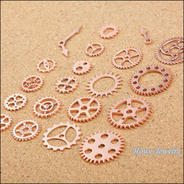 gear fit bracelet Australia - 200 pcs Vintage Charms Rose Gold Steam punk Gear Pendant Antique silver Fit Bracelets Necklace DIY Metal Jewelry Making 20053