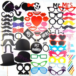 Mask lips Mustache stick online shopping - Free DHL Photo Props Glasses Mustache Lip Hold Stick Wedding Birthday Party DIY Masks Fun Favor Set