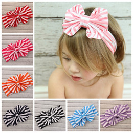 $enCountryForm.capitalKeyWord Canada - Baby Girls Stripes Big Bows Headwrap Baby girl Cotton Headbands Twist knot Head Wrap Soft cotton Hairband lovely hair accessories 20pcs lot