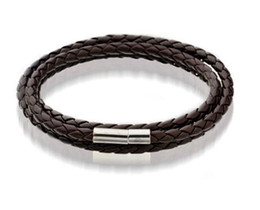 Wholesale Mens Leather Bangle Bracelets Black Brown Mesh Magnetic Stainless Steel Clasp Double Wrap Wristband Beautiful Titanium Bracelet for Men