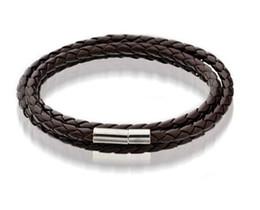 Mens Leather Bangle Bracelets Black Brown Mesh Magnetic Stainless Steel Clasp Double Wrap Wristband Beautiful Titanium Bracelet for Men on Sale