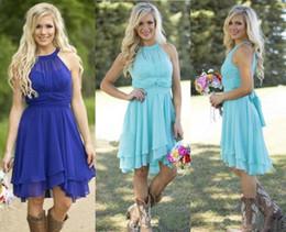 Discount turquoise wedding dress beach - 2017 Hot Sale Country Style Turquoise Bridesmaid Dresses Crew Neck Ruffled Chiffon Mini Dress Beach Wedding Party Dresse