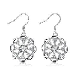 925 Silver Earrings Cubic Zircon Earrings crystal Flower pendant dangle  Earings for women wedding gift SPE005 f6f7388deccd