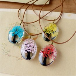 Handmade Natural Dry Flowers Life Tree Long Necklaces Pendants For Women Casual Girlfriend Gift Creative Jewelry