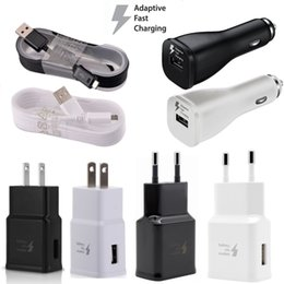 $enCountryForm.capitalKeyWord NZ - Car charger QC 3.0 Eu US Ac home wall charger 1.5M Micro usb Cable Fast Adaptive Car charger for samsung s6 s7 edge note 4 5