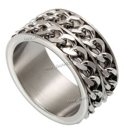 Silver Rolled Chain Canada - 12mm Rings 316L Titanium Stainless Steel 2 Rows Rolling Chain Link Spinner Ring Sizes 7.75 to 13.9