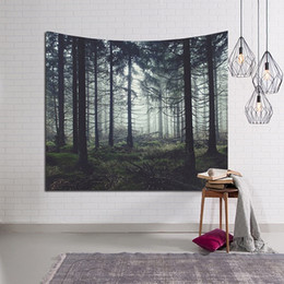 background paintings UK - 100*150cm Decor Rectangular Tapestry Mat Landscape Wall Hanging Decorative Tapestry Nature Tree Painting Clothe Craft Background