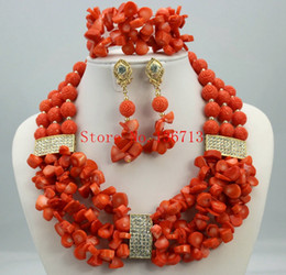 Indian Coral Beads Australia - Nigerian Wedding Coral Beads Jewelry Set Women African Beads Jewelry Set for wedding Free Shipping HD306-1