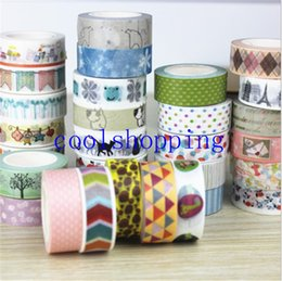 Wholesale Decorative Printing Paper Canada - Lovely DIY paper masking tape mixed color high quality decorative printing Japanese rice tape