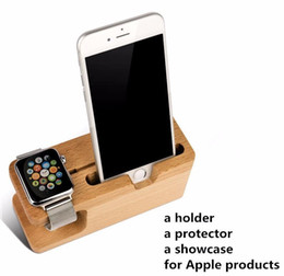 mobile stand wood 2019 - Universal Wood Bamboo Charging Stand Mounts Holder Bracket Dock Charge Station For Apple Watch iwatch Mobile Phone iphon