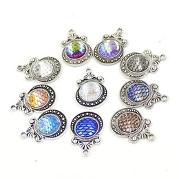 princess charms NZ - 12 colors Vintage Princess Crown Mermaid Fish Scale 12mm Druzy Drusy Pendant Stainles Steel Charms DIY Necklace Earrings Women Jewelry