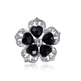 $enCountryForm.capitalKeyWord Canada - Brooches For Women Retro Style Black Big Crystal Brooch Elegant Black Colored Flower Women Brooch Pins Crystal Rhinestone brooches