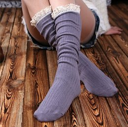 $enCountryForm.capitalKeyWord Canada - Womens Lace Boot Socks for Knee High Long Socks Medias Full Cotton Material Double Cylinder