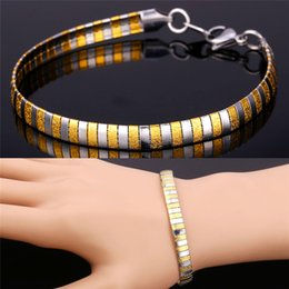 Wholesale Men s K Gold Plated Stainless Steel Snake Chain Bracelet Fancy Special Jewelry Gift Mens Fashion Bracelet
