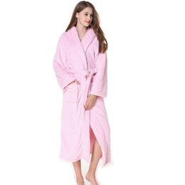 1ca856ef91 Free Shipping Unisex Night-Gown Coral Fleece Plus Size Thickness Bathrobe  Soft Nightgowns Mid Calf Robes Sleepwear