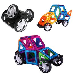 Kids Toys Blocks Plastic Canada - Magnetic Construction Toys ABS Plastic Assembly Wheels Light And Music Blocks Replacement Kids Game Toys Children