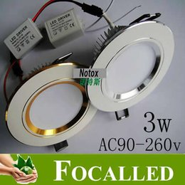 Ceiling Aluminum Shell Canada - white shell or silvery shell 3w led recessed doanlight 90-260v 330lm led ceiling lamp light bulb warm   cool white cut hole 90mm