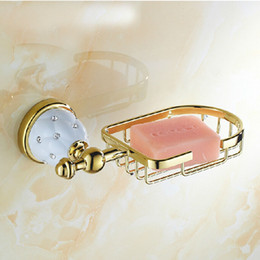 $enCountryForm.capitalKeyWord Canada - Free shipping Wholesale And Retail Bathroom Kitchen Golden Brass Soap Basket Soap Tray Dish Holder Diamond Ceramic Base