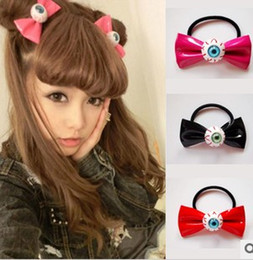 Barato Punk Arcos Acessórios-Bloodshot Eyeball Couro Hair Bow Punk Elastic Hair Ties Cosplay Costume Hair Accessories HJ108
