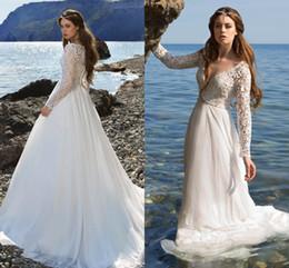 vestido de novia New Lace White Ivory Beach Wedding Dresses 2017 Sexy  V-neck Long Sleeves Boho Bridal Wedding Gowns Robe De Mariage 8e2a3e829bc0