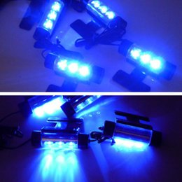 Car Led Glow Lights Canada - 4Pcs Car Styling Interior Parking Decorative Light Passat B6 3 LEDs Led Lamp Car Door Charge 12V Glow 4in1 Atmosphere Blue Light