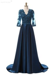 silk mother bride dresses UK - Hot Sale High Sheer Long Sleeves Blue Party Dress Elastic Satin Lace Appliques V Neck With Pearls Sashes Zipper Mother Of the Bride Dresses