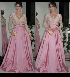 Elie Saab Taffeta Pas Cher-2016 Beading Robes de soirée Long Seeves Pink Elie Saab Robes de bal en perles Longueur de plancher Taffetas Long Party Formal Dubai Abaya Pageant Gowns