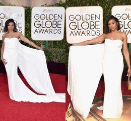 $enCountryForm.capitalKeyWord Canada - 2017 Golden Globe Awards Simply Cheap Dress Strapless Sleeveless With Long Train White Celebrity Red Carpet Formal Dresses Evening Wear