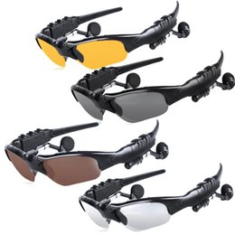 stereo cans UK - Stereo Bluetooth Sun glasses headset can talk to listen to music headset sports solar glasses Bluetooth Headphone Sunglass