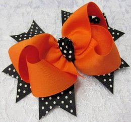 "large black hair bow Canada - 4"" Large Black and Orange Spikes Halloween hair bow clip hairbow headwear headdress orange and black-30pcs"