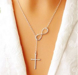 $enCountryForm.capitalKeyWord Canada - Hot Pendant Necklaces Chains Choker Statement Bib Y Style Dainty Drop Plain Infinity Cross Pendant Silver Plated Long Chain Necklace Jewelry