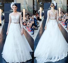 China Strap White Canada - Sheer Neck Wedding Dress Applqiue Lace Long Sleeve A Line Peplum Made in China Elegant White Bridal Gowns 2016 vestido de Novia