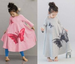 painting butterfly girl 2019 - 2014 autumn girls dresses, big butterfly casual bohemian children dress Korean ink painting skirt B001 cheap painting bu