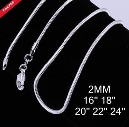 $enCountryForm.capitalKeyWord NZ - 2017 new ! 3 size available !2MM 2.4M 1MM snake Chain sterling silver Necklace 16 18 20 22 24 INCH fashion jewelry 80pcs