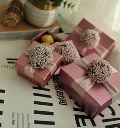 Wholesale Wedding Favors Gifts Boxes With Ribbon Flower Candy Chocolate Boxes Paper Boxes Baby Shower Giftbox colors