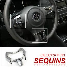VW GOLF6 MK6 POLO JETTA MK5 MK6 BORA Autocollant De Volant ABS Accessoires de garniture Chrome pour Volkswagen VW GOLF MK6 Livraison Gratuite en Solde