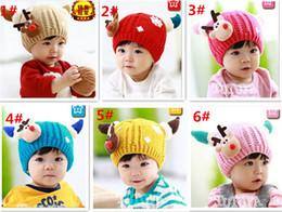 $enCountryForm.capitalKeyWord Canada - 30pcs fashion 6 clolors Baby Deer Beanie Skull Caps Crochet Hat Kids Cartoon Baby Fleece Warm Hat Headwear for Winter D474