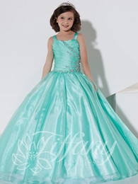 flower girl dresses turquoise white NZ - Turquoise spaghetti girls pageant dresses princess beads sequins floor length kids flower girls dress birthday party gowns custom made dress