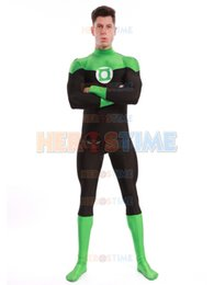China Green Lantern Costume The most classic lycra spandex Green Lantern superhero Costume halloween cosplay party suit free shipping suppliers