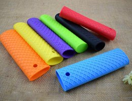silicone handle grip 2019 - Silicone Pot Insulation Sleeve Pan Anti-skid Handle Holder Cover Grip Unique Kitchen Utensil Cookware Parts DH12 discoun