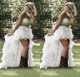 High Quality Wedding Dresses Canada - Summer Garden Beach High Low Wedding dresses With Crystal Beaded Sweetheart Bridal Gowns Low Back Ruffles Bling Wedding Gowns high quality