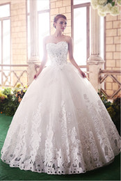 Barato Vestidos De Princesa Peito-New Arrivals Fantastic Beatiful Sleeveless Elegant Sweet Princess Appliques / Beads Encaixe embrulhado Chest Ball Gown Vestidos de noiva