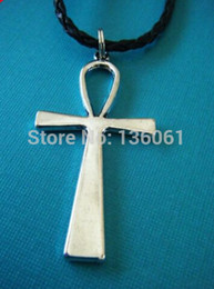 Vintage Crucifixes Canada - 10pcs Vintage Silver ANkh Crucifix Charms Statement Collar Choker Weave Leather Necklaces Pendants DIY Fashion Jewelry Men X788