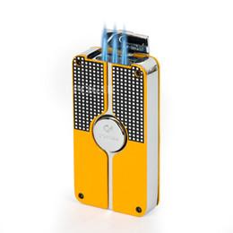 Оптово-КОИБ желтый черный классический 3 Факел ветрозащитный Бутан газ Refrillable Jet пламени прикуривателя Вт/ встроенный врезать новый дизайн