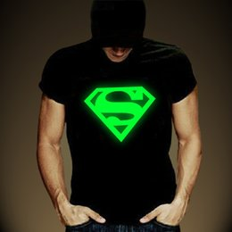 Superhombre Luminoso T Shirts Baratos-Venta al por mayor-Luminous T-shirt Hombres Atractiva Creativa Moda Hombres Camisetas Impresión Casual Superman T-shirt Fluorescencia Luminosa Camiseta Hombres